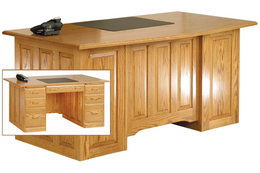 traditional executive curved top desk