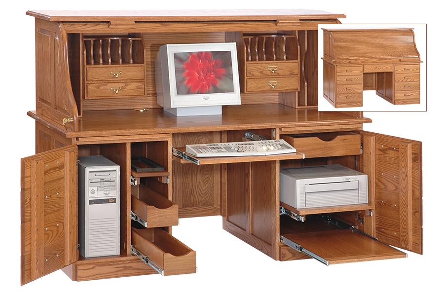 sixty six inch computer rolltop desk