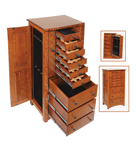 forty eight inch flush mission jewelry armoire