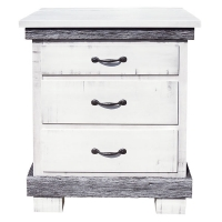 silver slate three drawer nightstand