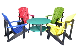 deluxe conversation table and deluxe adirondack chairs