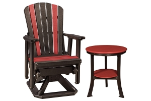 all poly fan back swivel glider and all poly end table