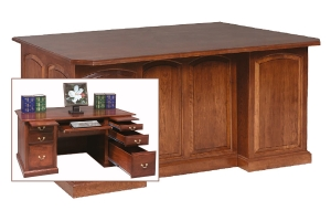 executive desk with raised panel back