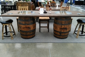 Double Jack Daniel's Barrel Table with glass top