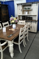 Rustic farmhouse dining set with distressed finish